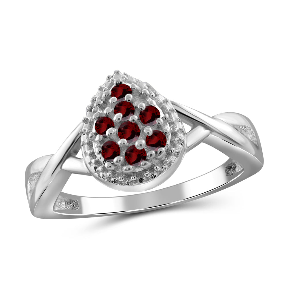 Round- Cut Gemstone and Accent Diamond Teardrop Shape Ring- Assorted Styles