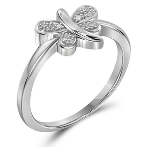 White Diamond Accent Sterling Silver Butterfly Ring