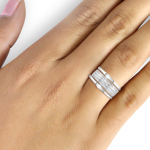 1/2 Carat T.W. White Diamond Sterling Silver Stackable Ring- Assorted Colors