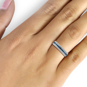 1/2 Carat T.W. Blue And White Diamond Sterling Silver Band