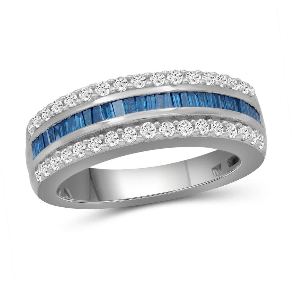 1.00 Carat T.W. Blue And White Diamond Sterling Silver Band