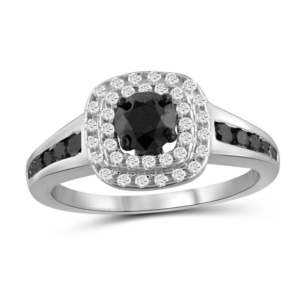 1.00 Carat T.W. Black And White Diamond Sterling Silver Cushion Shape Ring - Assorted Colors