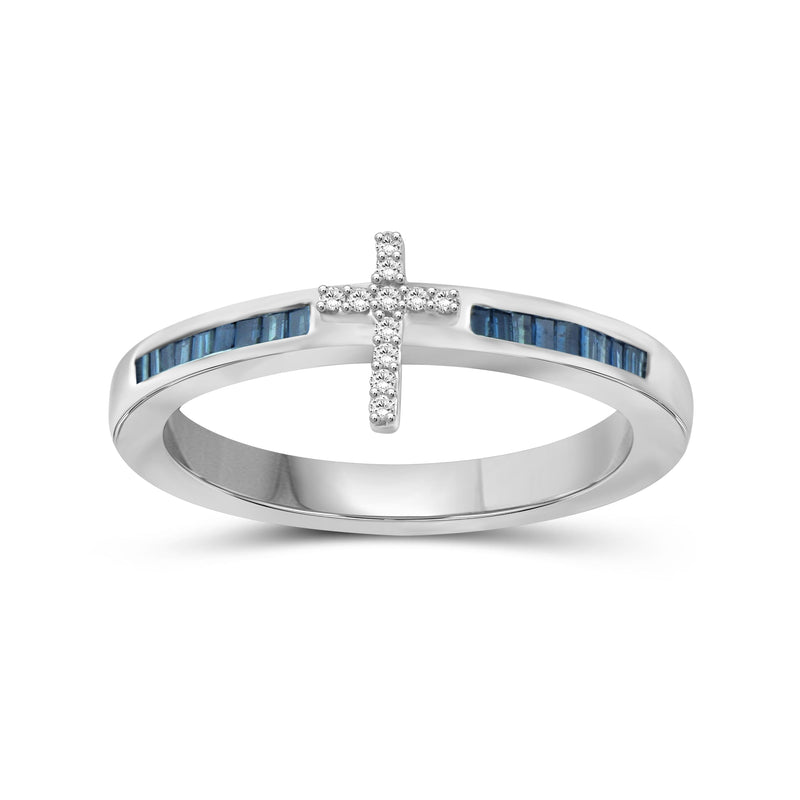 1/4 Carat T.W. Blue And White Diamond Sterling Silver Cross Ring
