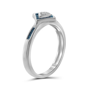 1/5 Carat T.W. Blue And White Diamond Sterling Silver Ring