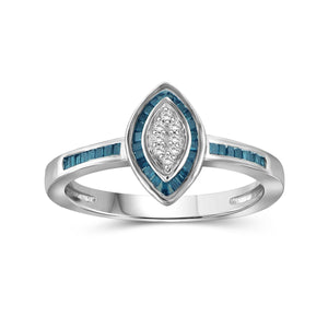 1/4 Carat T.W. Blue And White Diamond Sterling Silver Marquise Shape Ring