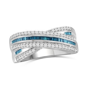 1/2 Carat T.W. Blue And White Diamond Sterling Silver Crossover Ring