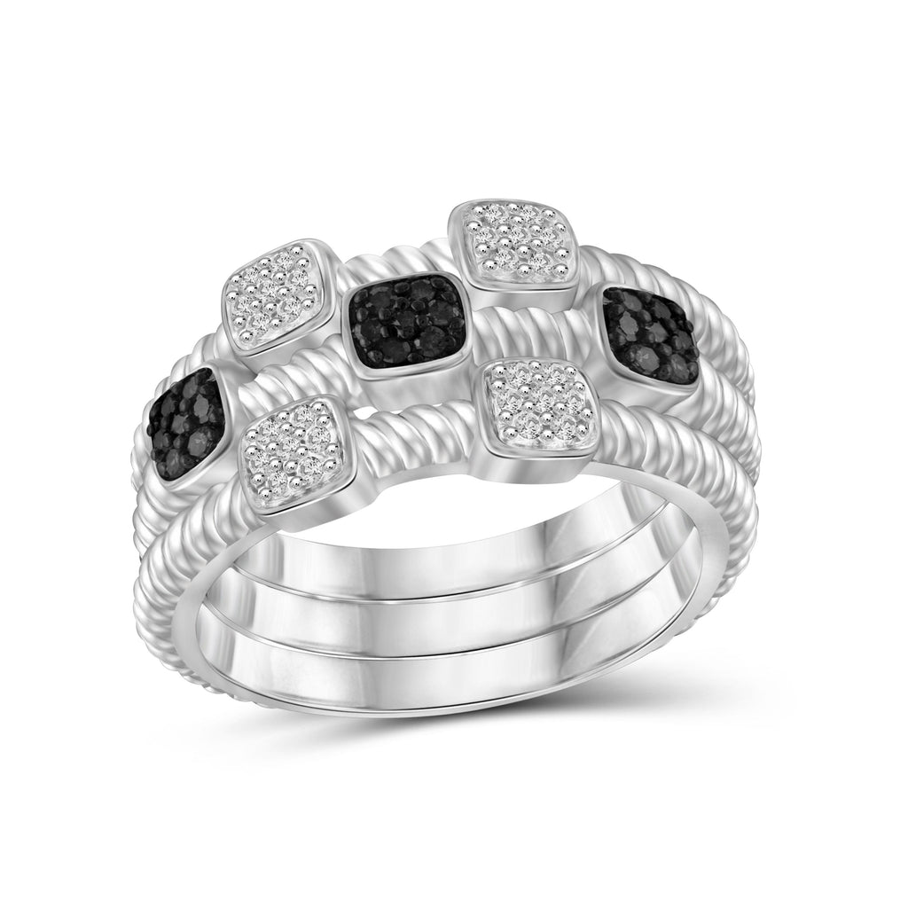 1/5 Carat T.W. Black And White Diamond Sterling Silver Stackable Ring - Assorted Colors
