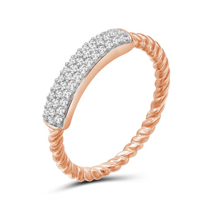 1/4 Carat T.W. White Diamond Rose Gold Over Silver Bar Ring ( Size 7 Only )