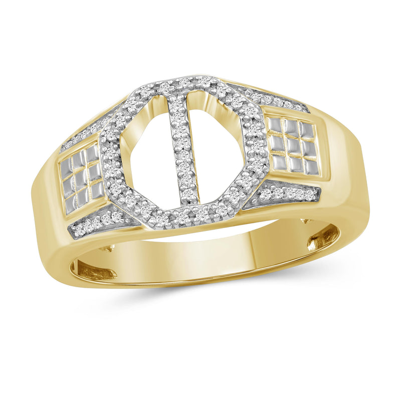 1/7 Carat T.W. White Diamond Two Tone Silver Men's Ring