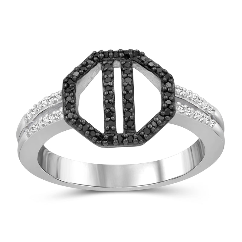 1/5 Carat T.W. Black And White Diamond Sterling Silver Octagon Ring - Assorted Colors