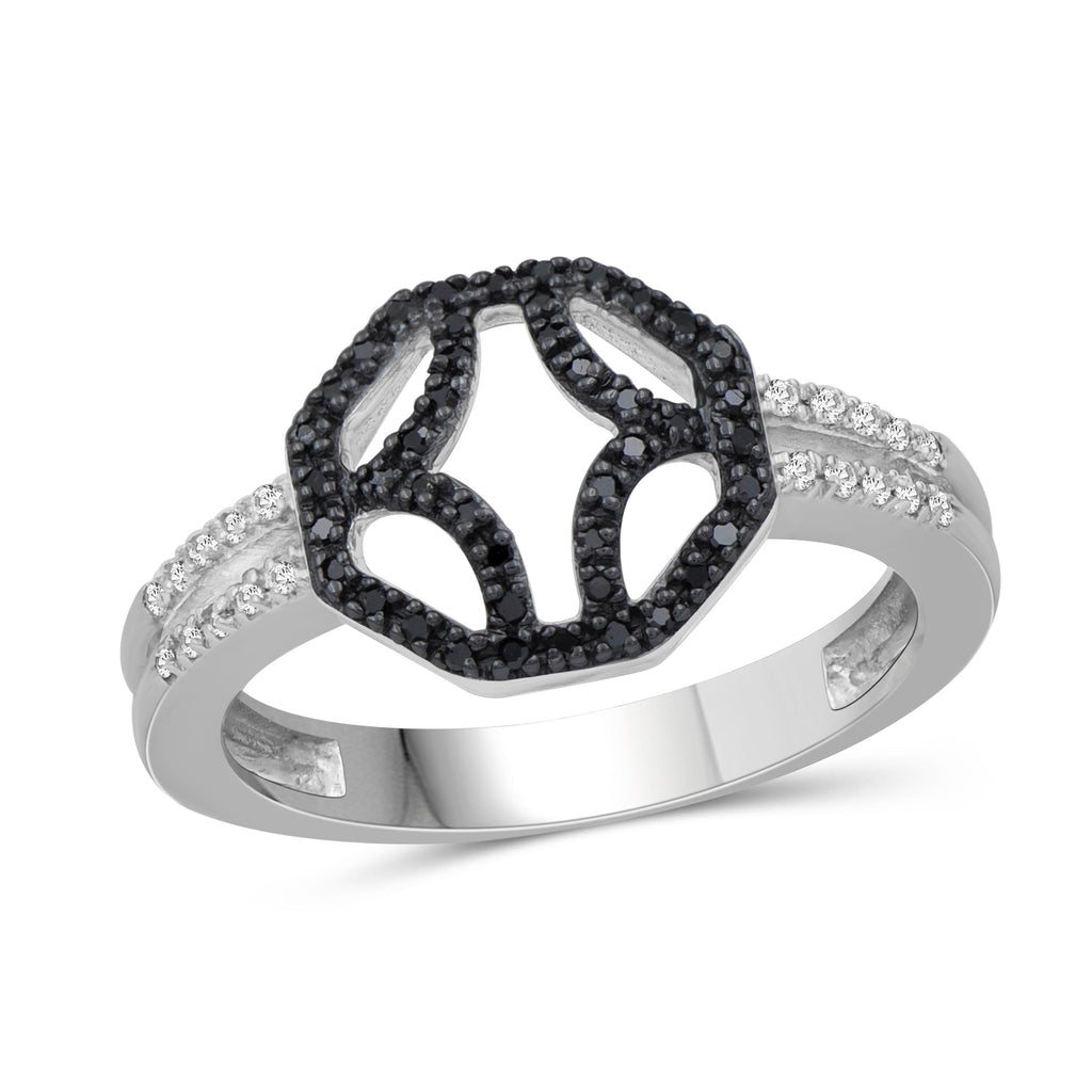 1/7 Carat T.W Black And White Diamond Sterling Silver Octagon Ring - Assorted Colors