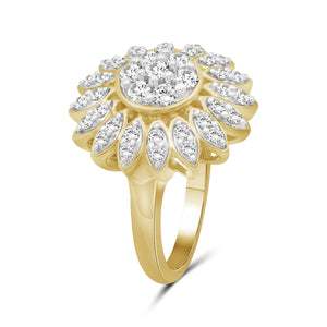 1.00 Carat T.W. White Diamond Sterling Silver Flower Ring - Assorted Colors