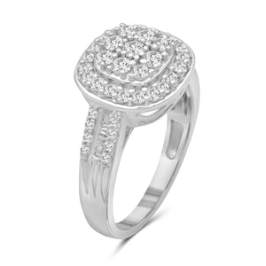 1.00 Carat T.W. White Diamond Sterling Silver Cluster Ring - Assorted Colors