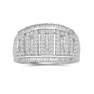 1.00 Carat T.W. White Diamond Sterling Silver Dome Ring - Assorted Colors