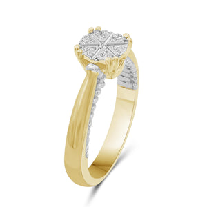 1/10 Carat T.W. White Diamond Two Tone Silver Flower Ring