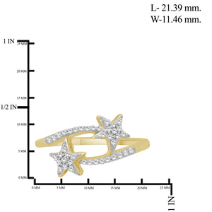1/4 Carat T.W. White Diamond Sterling Silver Star Ring - Assorted Colors