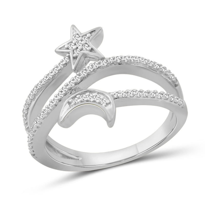 1/4 Carat T.W. White Diamond Sterling Silver Star & Moon Ring - Assorted Colors