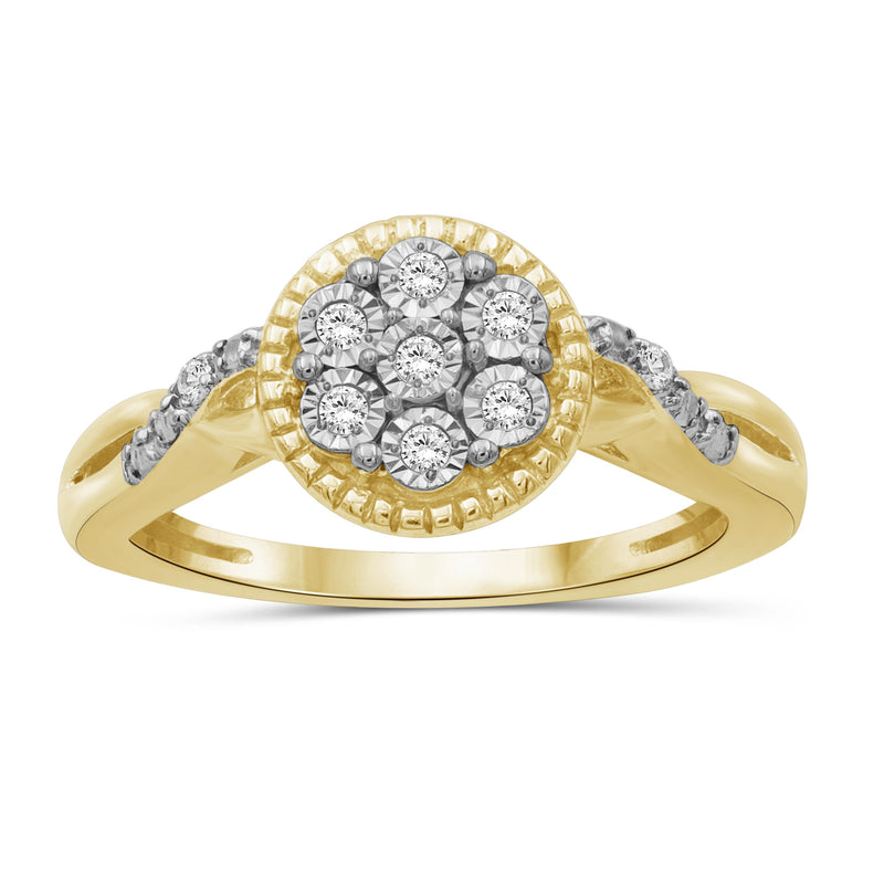1/10 Ctw White Diamond 14K Gold Over Silver Ring