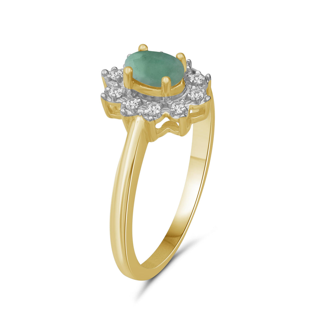 0.55 ctw Genuine Emerald & White Topaz Gemstone 14K Gold Over Silver Ring