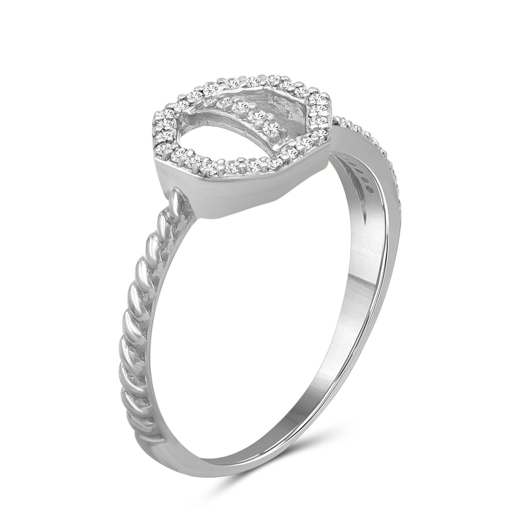 1/7 Carat T.W. White Diamond Sterling Silver Octagon Ring - Assorted Colors