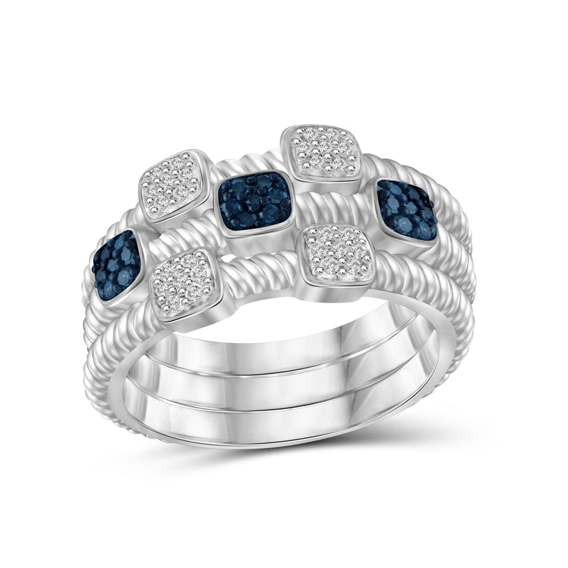 1/5 Carat T.W. Blue And White Diamond Sterling Silver Stackable Ring