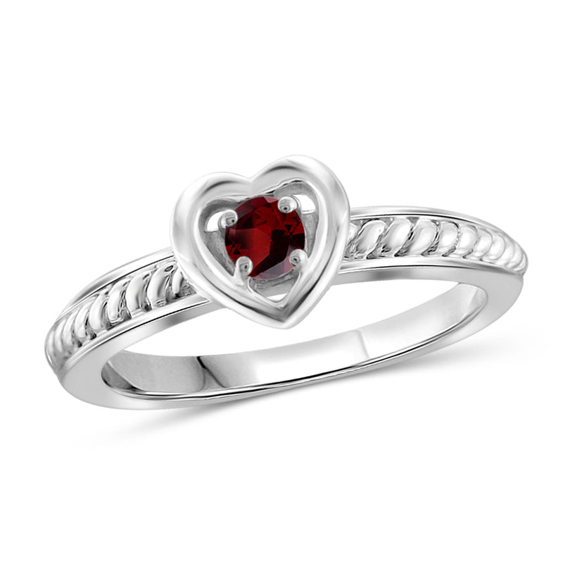 Genuine Birthstone Rope Ring Sterling Silver- Assorted Styles