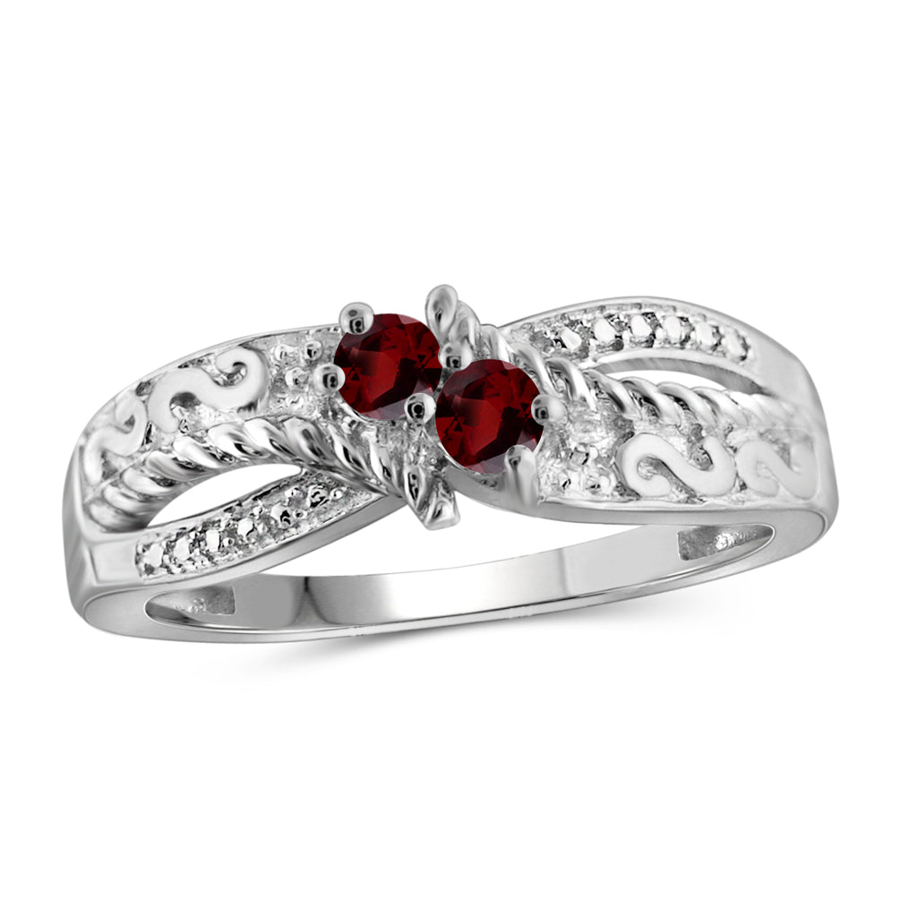 Round-Cut Center Genuine Birthstone Ring Sterling Silver- Assorted Styles