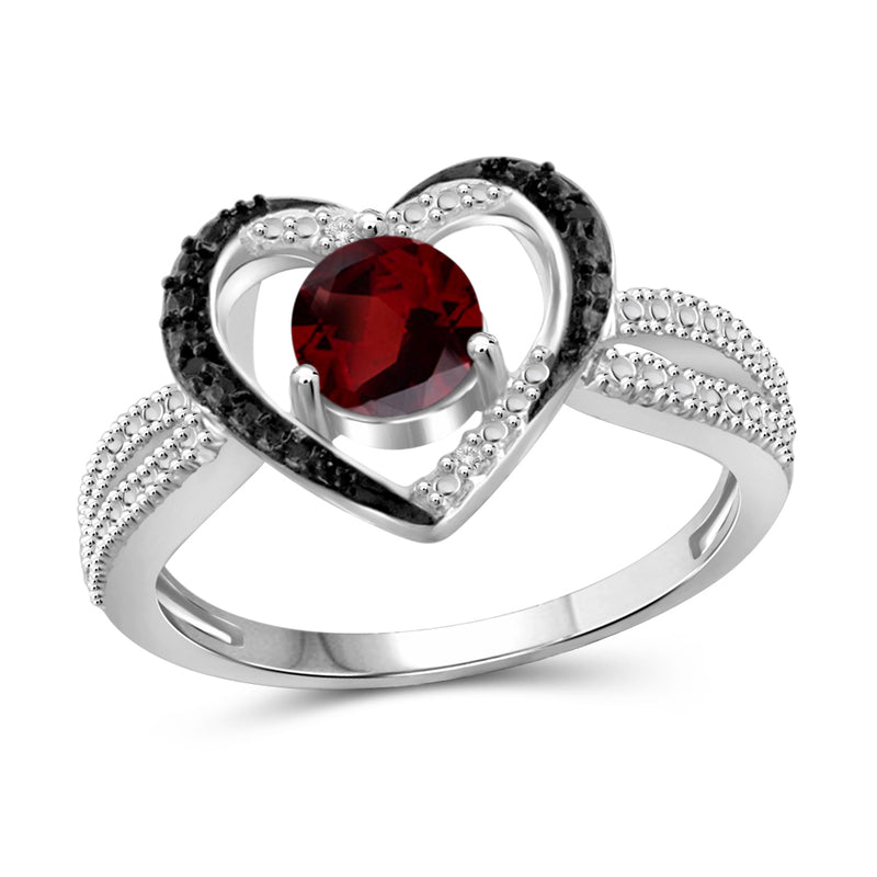 Genuine Birthstone and Accent Black & White Diamonds Heart Ring in Sterling Silver- Assorted Styles
