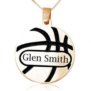 Basketball Name Pendant Sterling Silver