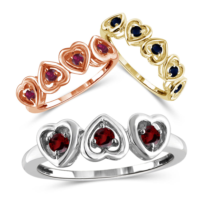 Genuine Birthstone Heart Ring Sterling Silver- Assorted Styles