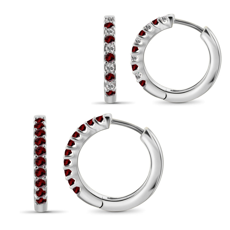 Genuine Birthstone Hoop Earrings Sterling Silver- Assorted Styles