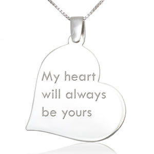 Slanted Heart Shaped  Sterling Silver Pendant