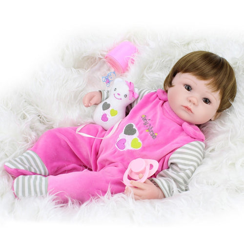 "16"" Cute Real Silicone Baby Girl Doll"