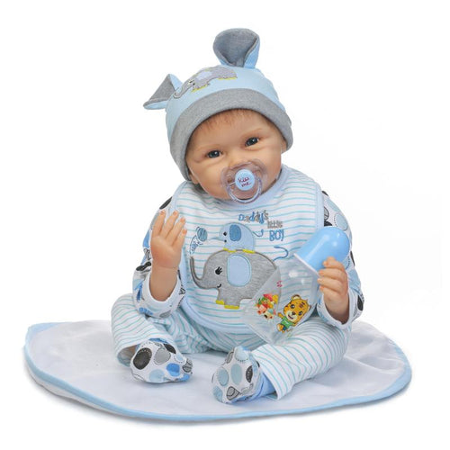 "16"" Lovely Real Life Silicone Baby Doll with a Hat"