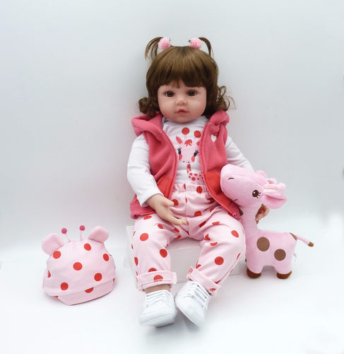 "19"" Cute Silicone Girl Doll with Ponytails"