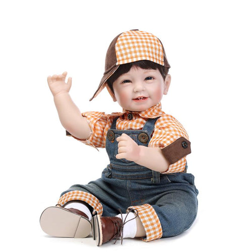 "22"" Smiling Silicone Boy with Khaki Hat"