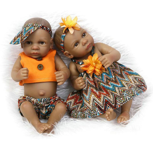 "10"" Mini African American Full Silicone Twins"