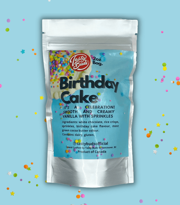 Birthday Cake Tasty Buds in silver bag 2oz bud shaped cookies
