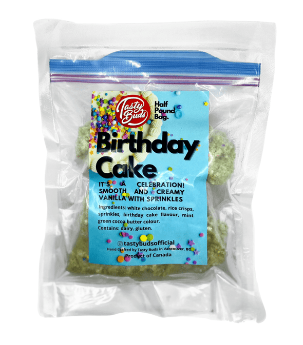 Birthday Cake Tasty Buds in ziplock bag half pound bud shaped cookies with blue label