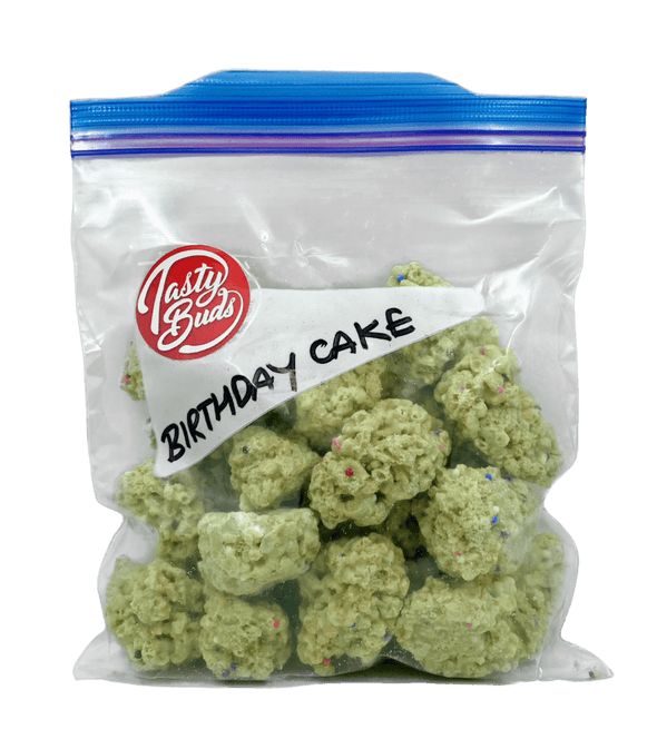 Birthday Cake Tasty Buds in ziplock bag half pound bud shaped cookies