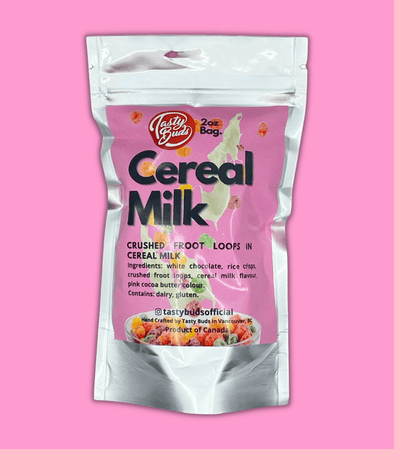 Cereal Milk Tasty Buds in silver bag 2oz bud shaped cookies