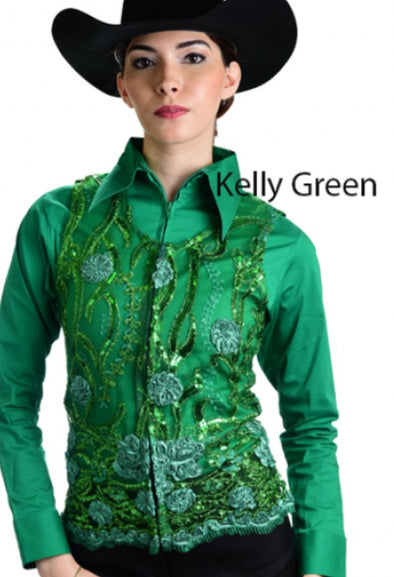 Molly Show Vest - Kelly Green - Sparkling Cowgirl