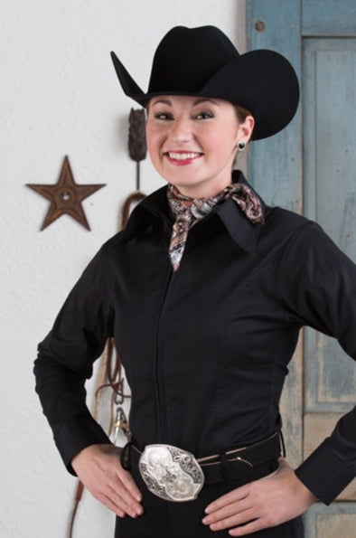Black Fitted Zip Front Show Shirt - Sparkling Cowgirl