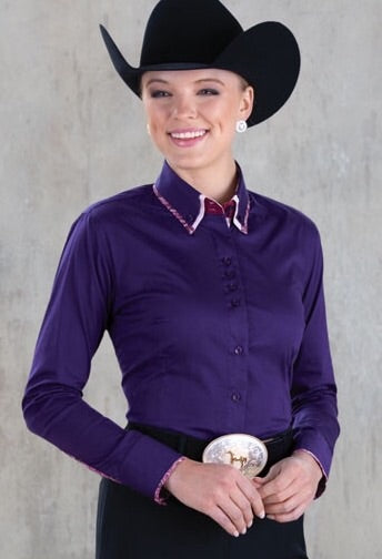 2 Tone Double Collar Purple Button Show Top - Sparkling Cowgirl