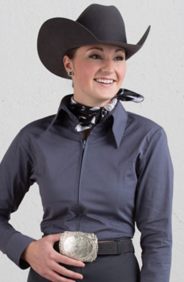 Charcoal Fitted Zip Front Show Shirt - Sparkling Cowgirl