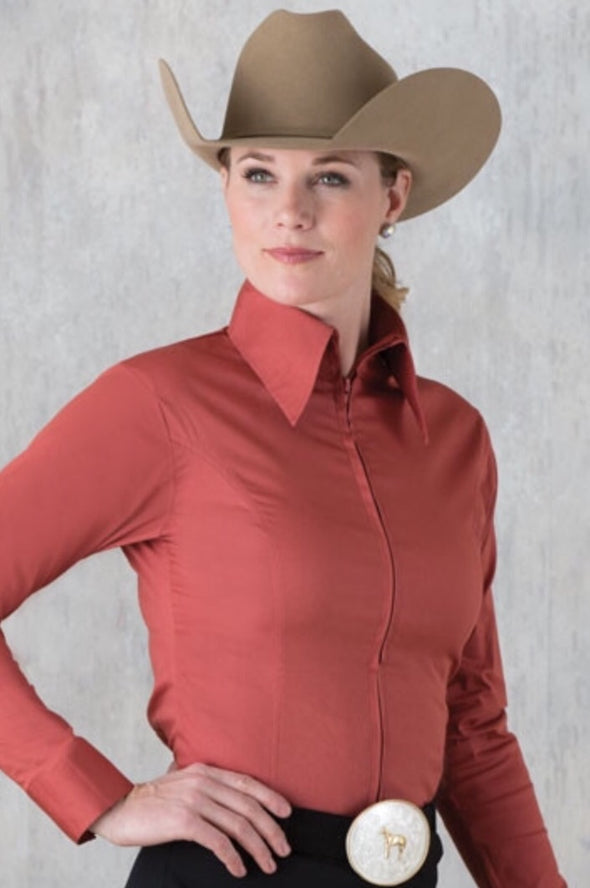 Rust Fitted Zip Front Show Shirt - Sparkling Cowgirl