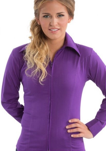 Purple Fitted Zip Front Show Shirt - Sparkling Cowgirl