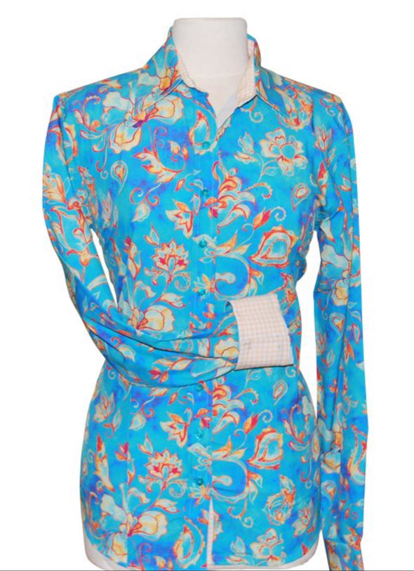 Blue paisley Western Shirt - Sparkling Cowgirl