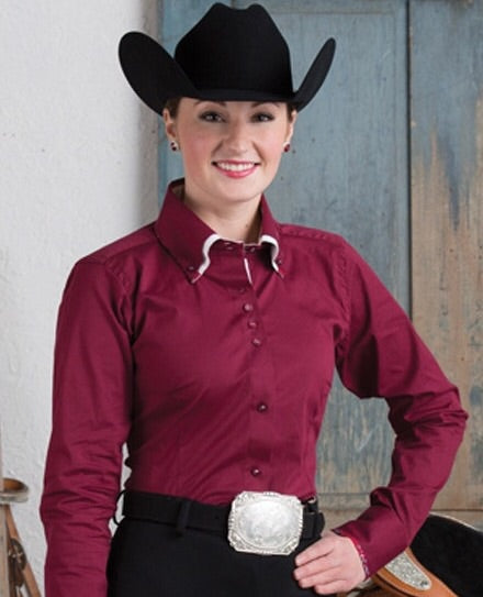 2 Tone Double Collar Burgundy Button Show Top - Sparkling Cowgirl