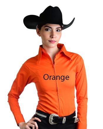 Orange Fitted Zip Front Show Shirt - Sparkling Cowgirl